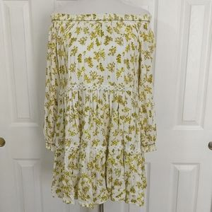 NWT C & V yellow, gold floral print dress size S